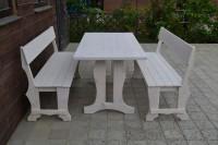 Садовая мебель, стол и скамейки, цвет белый