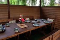 Деревянная мебель для дачи, бани, сауны, цвет орех