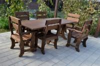 Садовая мебель из дерева, стол и шесть кресла