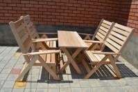 Стол и в кресла-шезлога из липы для бани