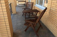 Садовая мебель из дерева, стол и кресла шезлонги, цвет палисандр