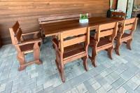 Мебель из дерева для беседки, цвет орех