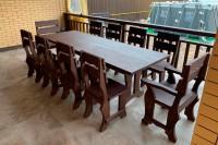 Садовый стол 2,5 м, 8 стульев, 2 кресла, цвет палисандр
