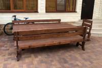 Садовый стол, скамейки, кресло, 2,5х0,9 м, цвет орех