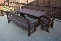 Садовая мебель из массива дерева: стол, 2 дивана, 2 кресла, цвет палисандр