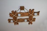 Люстра из дерева под старину Шале-4, цвет орех