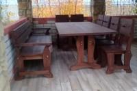 Садовая мебель из дерева, стол 2,5 м, диван, стулья, цвет палисандр