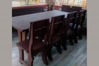 Садовый стол, диван, стулья деревянные, цвет палисандр
