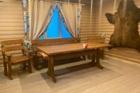 Мебель для бани из дерева в интерьере заказчика, цвет орех
