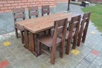 Мебель из дерева для кафе и бара: стол и 6 стульев