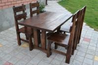 Мебель из дерева для кафе и бара: стол и 4 стула