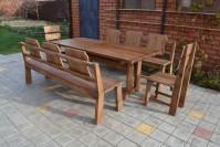 Садовая мебель из дерева, стол, скамейки, стулья