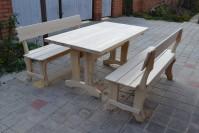 Мебель для бани, стол и две скамейки из дерева