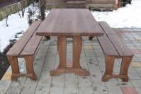 Садовая мебель из дерева, стол и лавки