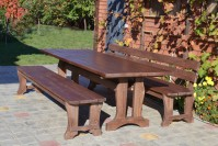 Садовая мебель из дерева, стол, скамейка, лавка