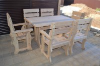 Мебель для бани и сауны из дерева, стол и кресла