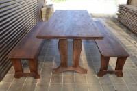 Мебель для дачи и бани из дерева, стол и две лавки