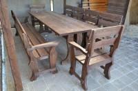 Садовая мебель из дерева: стол, скамейка, 6 кресел, цвет палисандр