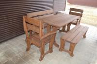 Мебель для бани и дачи из дерева: стол, скамейка, лавка, два кресла, цвет орех