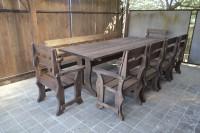 Мебель для бани и дачи из дерева: стол, скамейка, шесть кресел