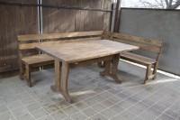 Мебель для бани из дерева, угловая скамейка и стол