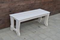 Скамейка садовая деревянная, цвет белый