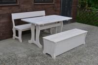Садовая мебель из дерева, стол, скамейка, сундук