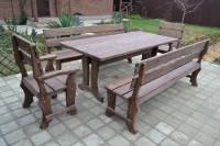 Садовая мебель из дерева: стол, скамейки, кресла, цвет палисандр