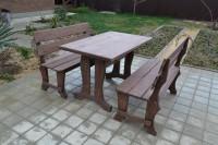 Садовая мебель из дерева: стол, скамейки, цвет палисандр