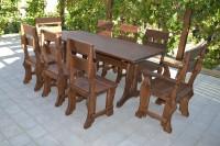 Садовая мебель из дерева, стол, стулья, кресла, цвет орех