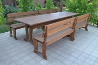 Мебель для кафе, сада, дачи из дерева, стол, скамейки, цвет орех