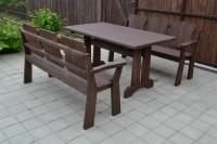 Садовая мебель из дерева, стол, скамейки, цвет палисандр