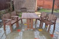 Садовая мебель из дерева, стол и кресла