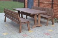Садовая мебель из дерева, стол и скамейки