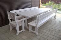Садовая мебель из дерева, стол, скамейки, кресла