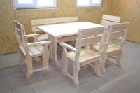 Садовая мебель из дерева, стол, кресла, скамейка