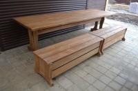 Мебель для бани и дачи из дерева, стол и две лавки-сундук