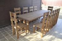 Деревянная уличная мебель: стол и стулья, цвет орех