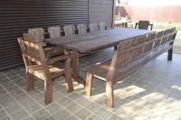 Деревянные столы, кресла, скамейки под старину для кафе, бара, ресторана, цвет палисандр