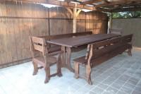 Садовый стол, скамейка, два кресла, цвет палисандр