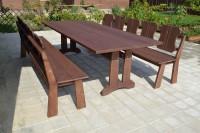 Мебель садовая из дерева: стол и скамейки, цвет палисандр