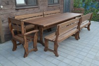 Уличная мебель из массива сосны: стол, скамейки, кресла, цвет орех
