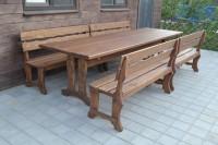 Уличная мебель деревянная: стол, скамейки, цвет орех